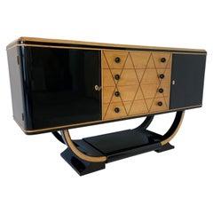Italian Art Deco Black and Maple Sideboard, 1940s