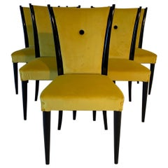 Italian Art Deco Black Lacquered Wood and Yellow Velvet Chairs, 1930s