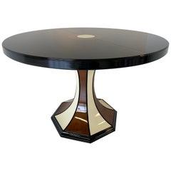 Italian Art Deco Black, Walnut and Ivory Extending Table, 1970s