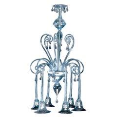 Italian Art Deco, Blown Blue Glass Chandelier by Rioda, 1910-1915