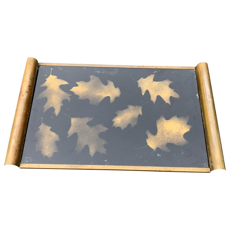 Italian Art Deco brass and gold leaf decorated glass barware serving tray The tray is presented in its untouched, original patina Tray can be polished before shipping at buyers request.