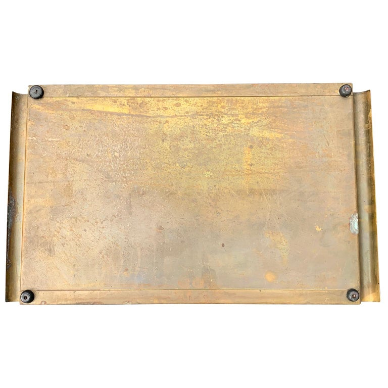 Hand-Crafted Italian Art Deco Brass and Gold Leaf Decorated Glass Barware Serving Tray For Sale
