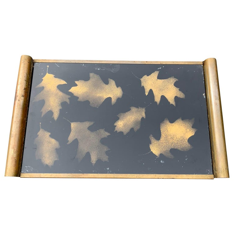 20th Century Italian Art Deco Brass and Gold Leaf Decorated Glass Barware Serving Tray For Sale