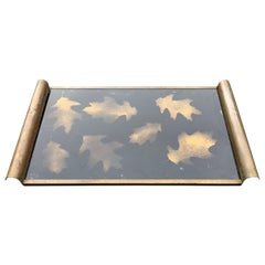 Italian Art Deco Brass and Gold Leaf Decorated Glass Barware Serving Tray
