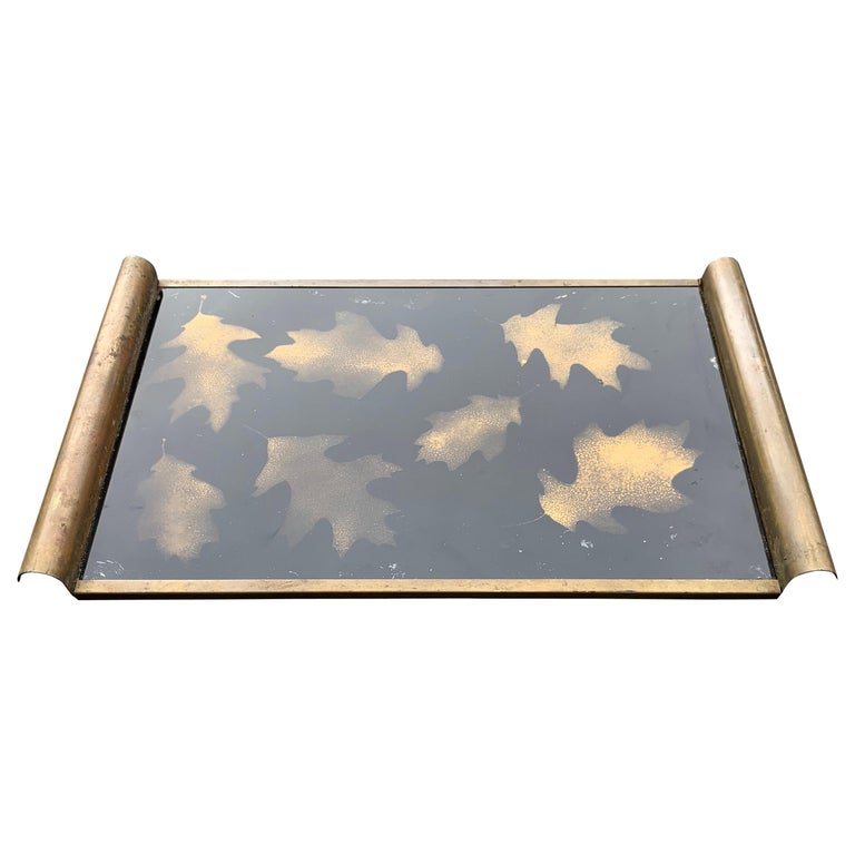 Italian Art Deco Brass and Gold Leaf Decorated Glass Barware Serving Tray For Sale