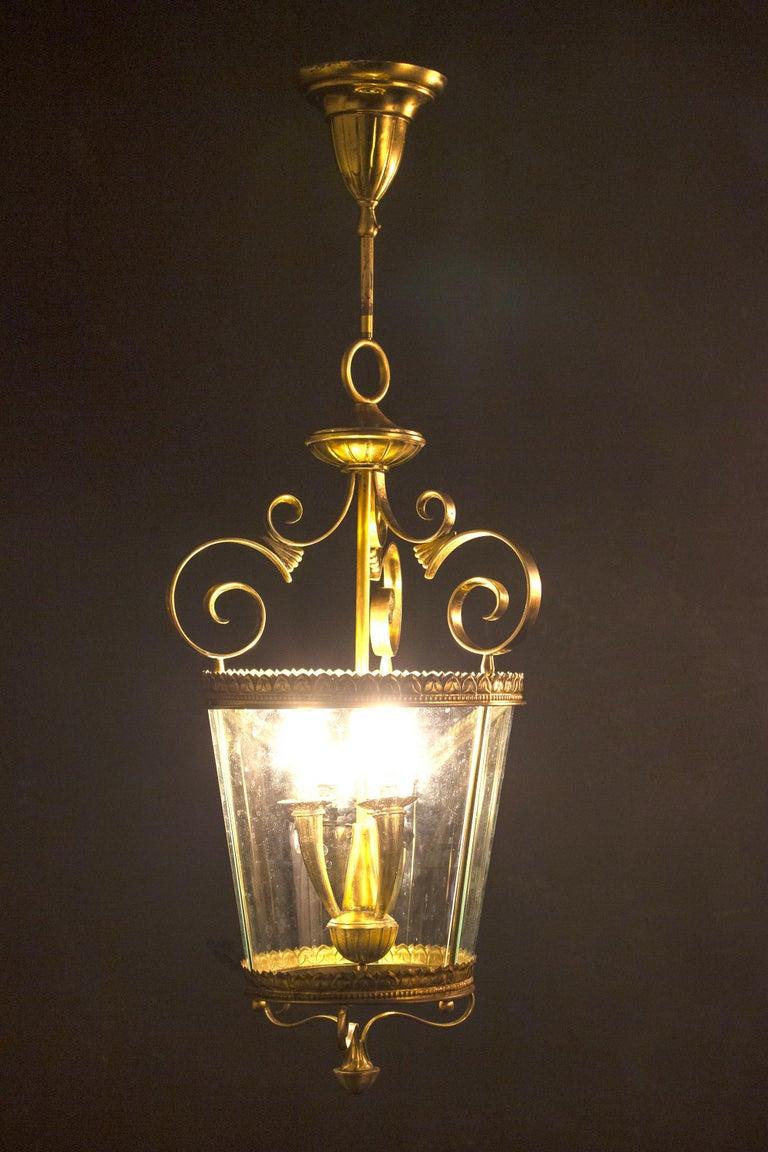 Italian Art Deco Brass Lantern or Pendant, 1940s For Sale 6