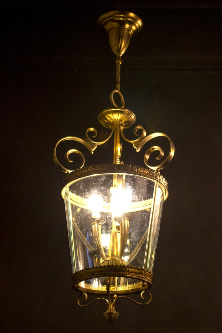 Italian Art Deco Brass Lantern or Pendant, 1940s For Sale 7