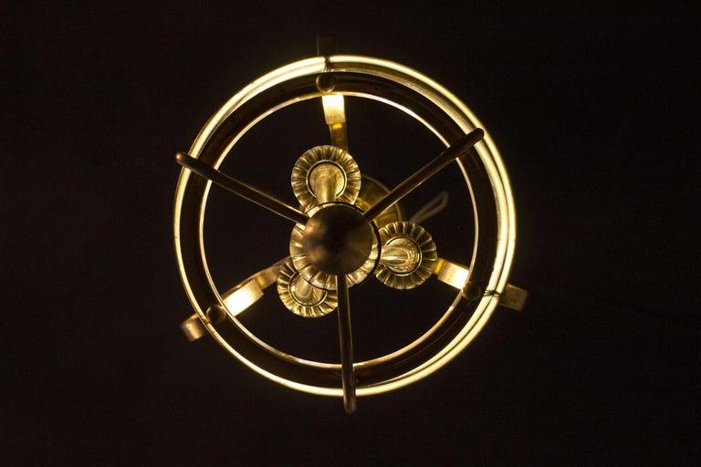 Italian Art Deco Brass Lantern or Pendant, 1940s For Sale 8