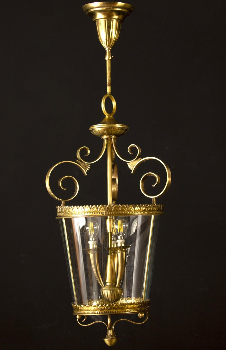 Amazing Italian Art Deco brass lantern or pendant. Three E 14 light bulbs. We can wire for your country standards.