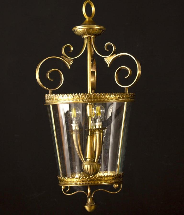 Mid-Century Modern Italian Art Deco Brass Lantern or Pendant, 1940s For Sale