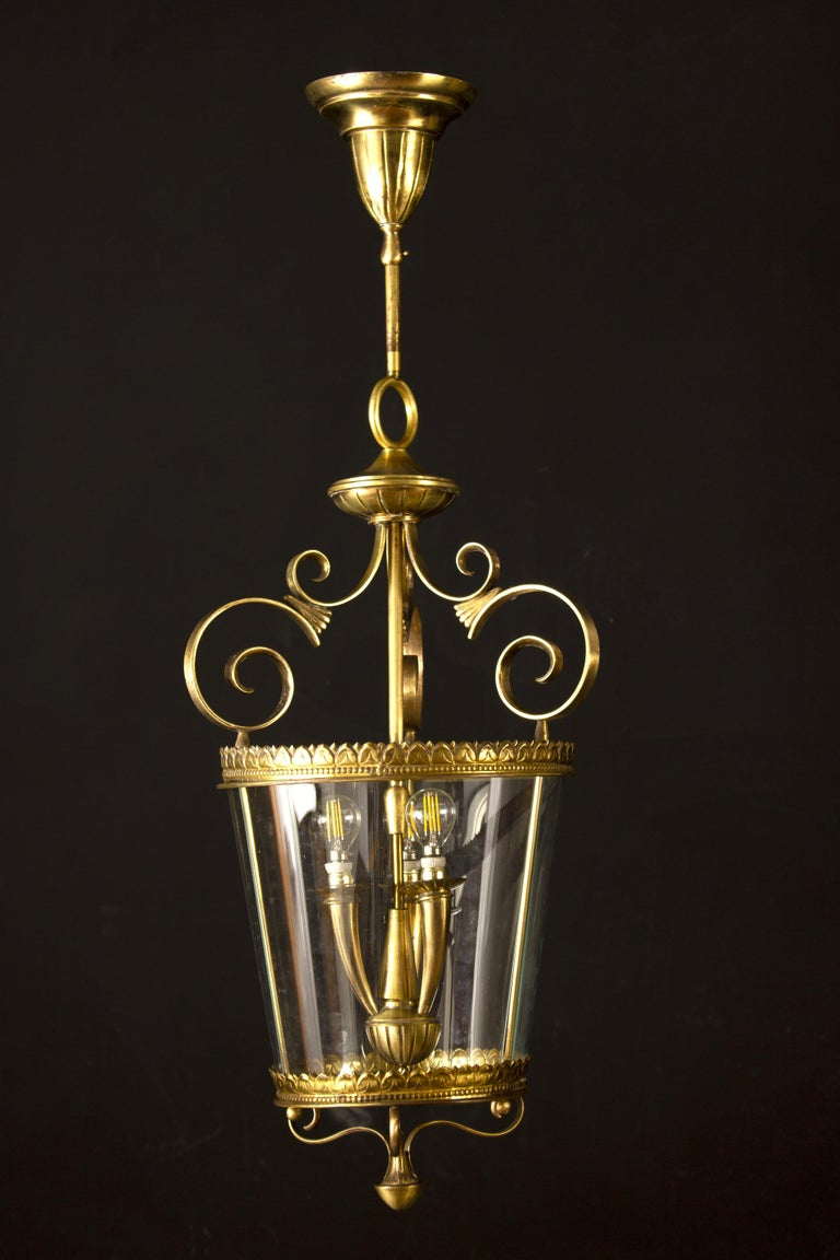 Italian Art Deco Brass Lantern or Pendant, 1940s In Excellent Condition For Sale In Rome, IT