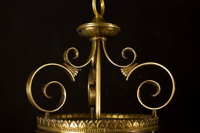 Italian Art Deco Brass Lantern or Pendant, 1940s For Sale 1