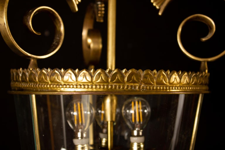 Italian Art Deco Brass Lantern or Pendant, 1940s For Sale 2