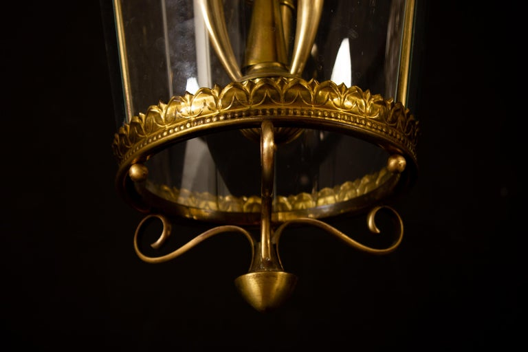Italian Art Deco Brass Lantern or Pendant, 1940s For Sale 3