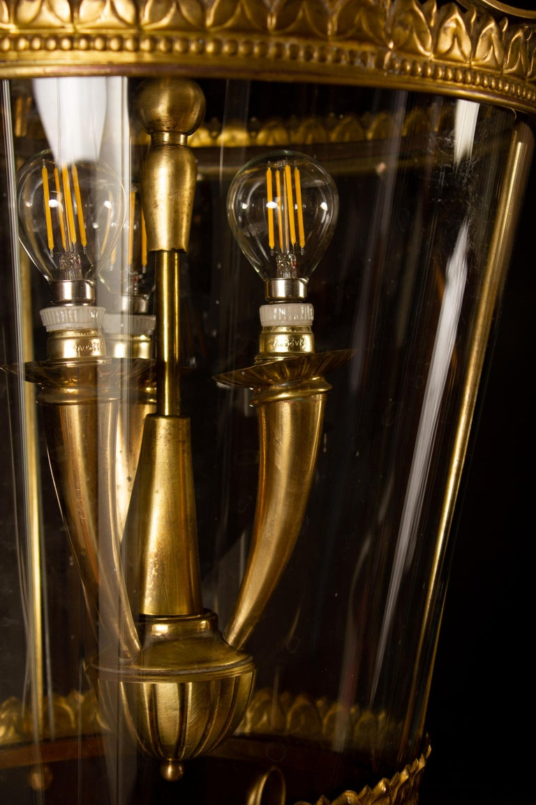 Italian Art Deco Brass Lantern or Pendant, 1940s For Sale 4