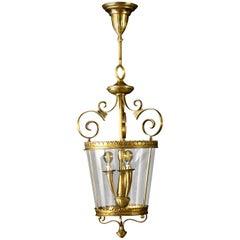 Italian Art Deco Brass Lantern or Pendant, 1940s