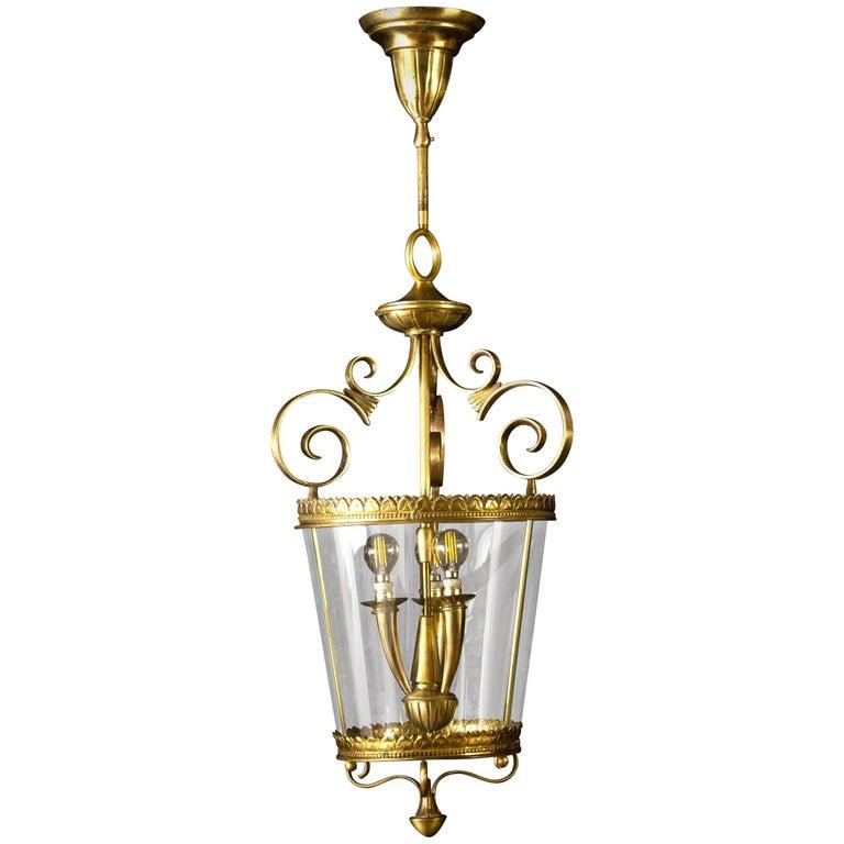 Italian Art Deco Brass Lantern or Pendant, 1940s For Sale