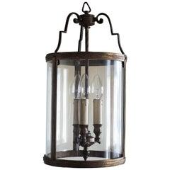 Italian Art Deco Bronze and Curved Glass Three-Light Lantern, 1930s