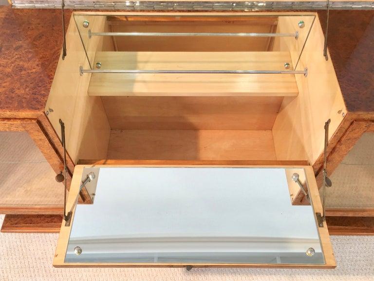 Italian Art Deco Burl Walnut Bar Cabinet Sideboard For Sale 6