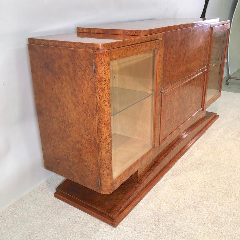 Italian Art Deco Burl Walnut Bar Cabinet Sideboard For Sale 11