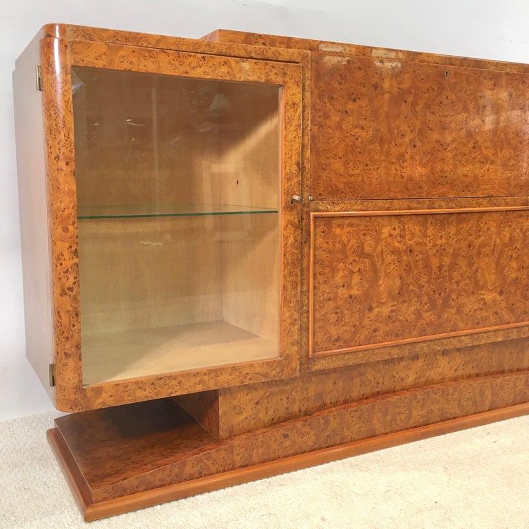 Italian Art Deco Burl Walnut Bar Cabinet Sideboard For Sale 14