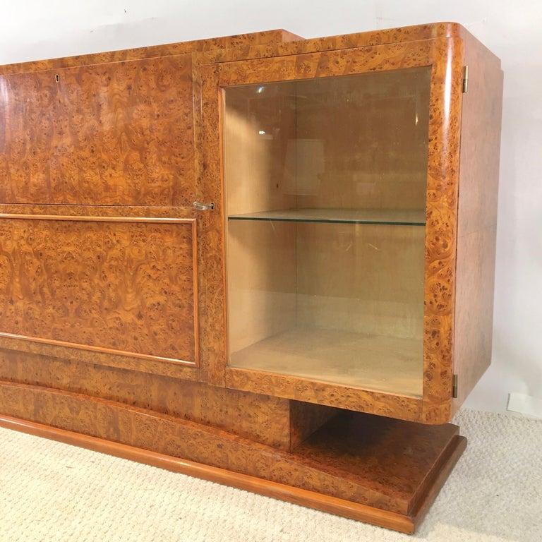Italian Art Deco Burl Walnut Bar Cabinet Sideboard For Sale 15