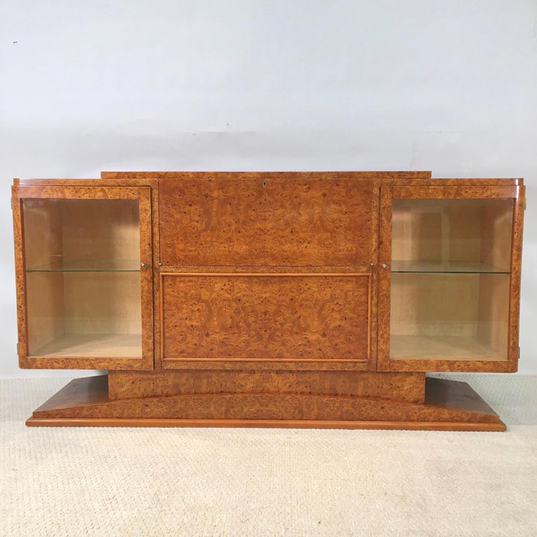 Mid-20th Century Italian Art Deco Burl Walnut Bar Cabinet Sideboard For Sale