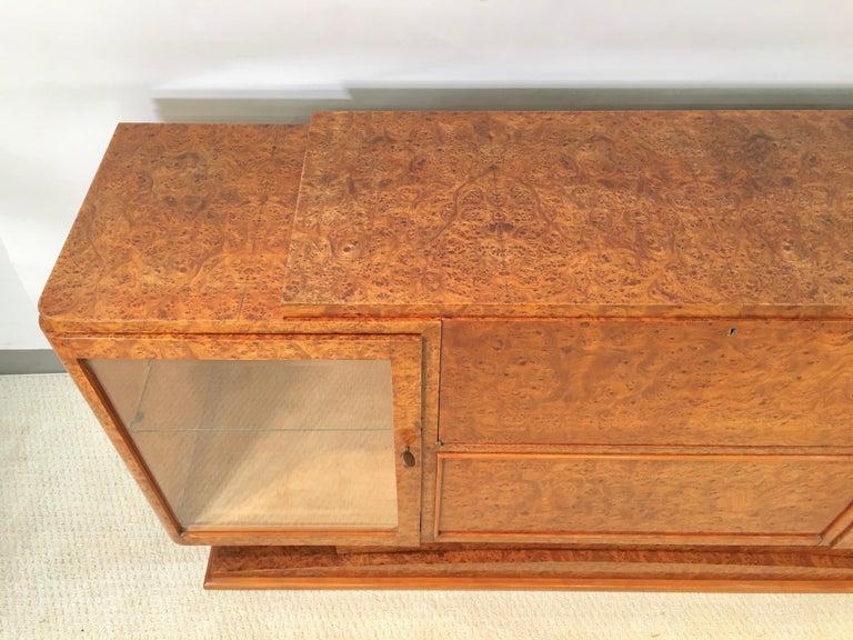 Italian Art Deco Burl Walnut Bar Cabinet Sideboard For Sale 1