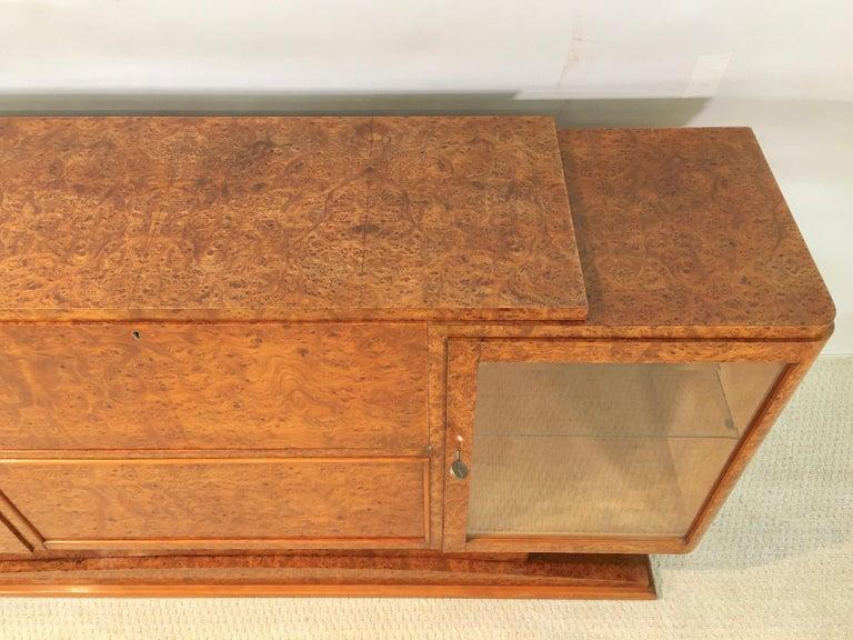 Italian Art Deco Burl Walnut Bar Cabinet Sideboard For Sale 2