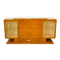 Italian Art Deco Burl Walnut Bar Cabinet Sideboard