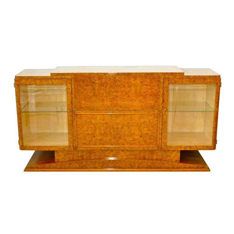 Italian Art Deco Burl Walnut Bar Cabinet Sideboard For Sale
