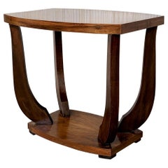 Italian Art Deco Burl Walnut Coffee Side Table with Ebonized Legs