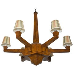 Italian Art Deco Burl Wood Chandelier