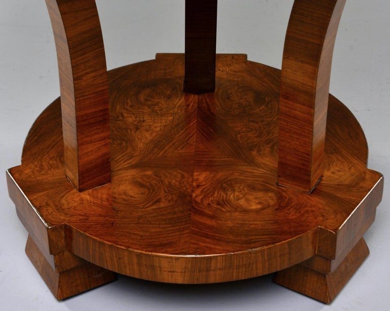 Italian Art Deco Burled Walnut Center Table For Sale 5