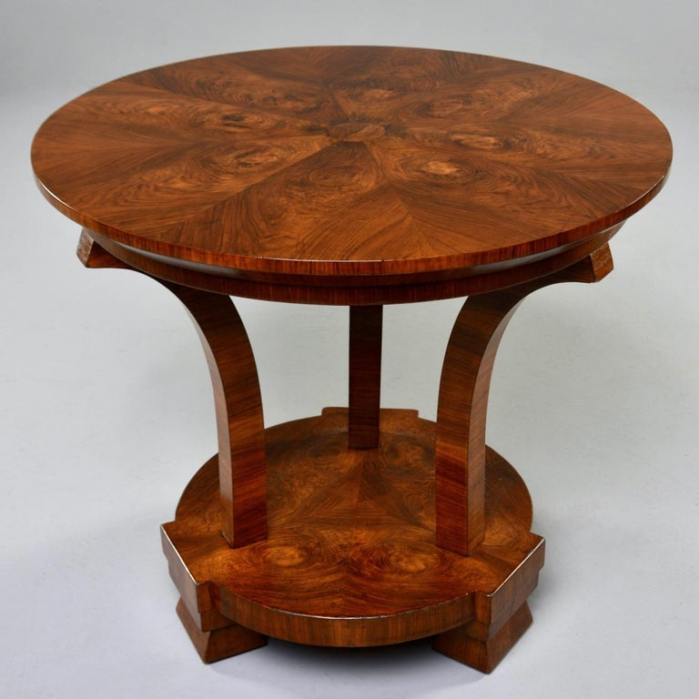 Italian Art Deco Burled Walnut Center Table For Sale 6