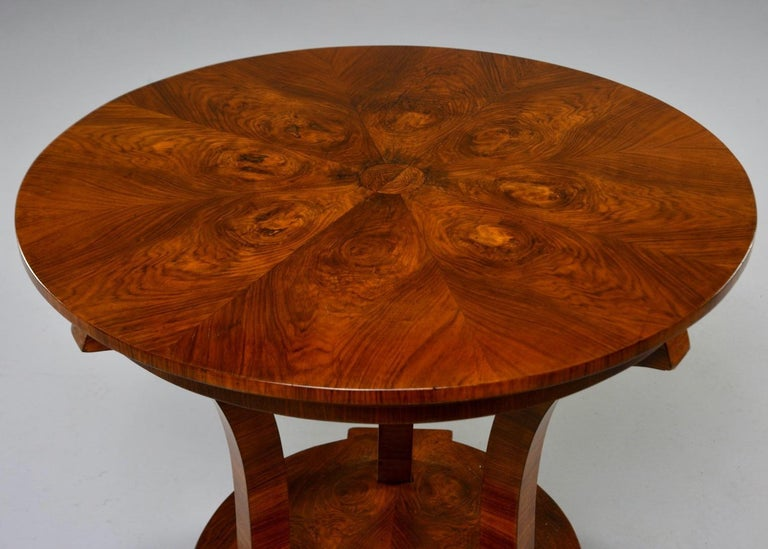 Italian Art Deco Burled Walnut Center Table For Sale 7