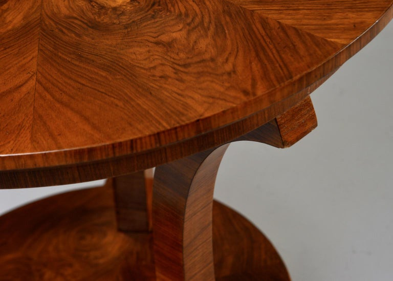 Veneer Italian Art Deco Burled Walnut Center Table For Sale
