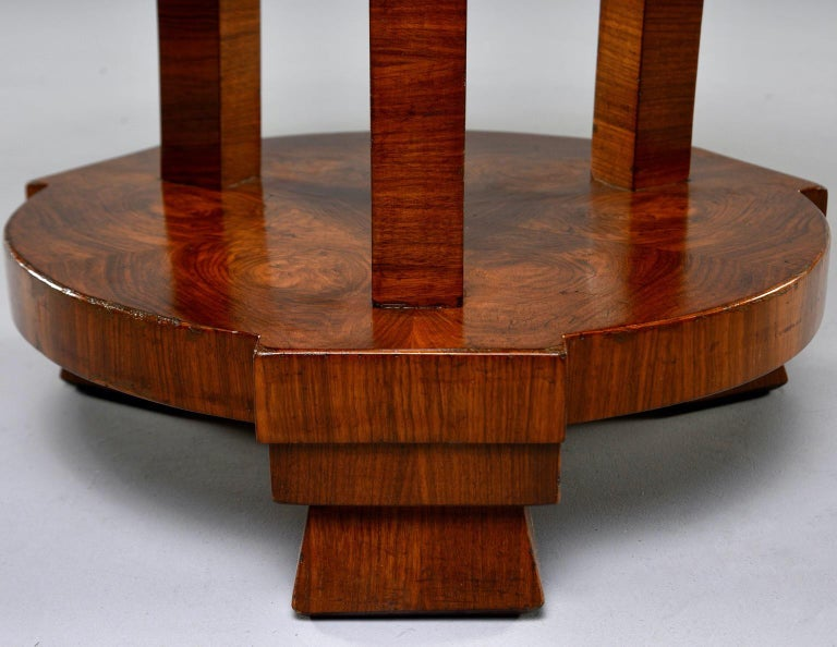 20th Century Italian Art Deco Burled Walnut Center Table For Sale