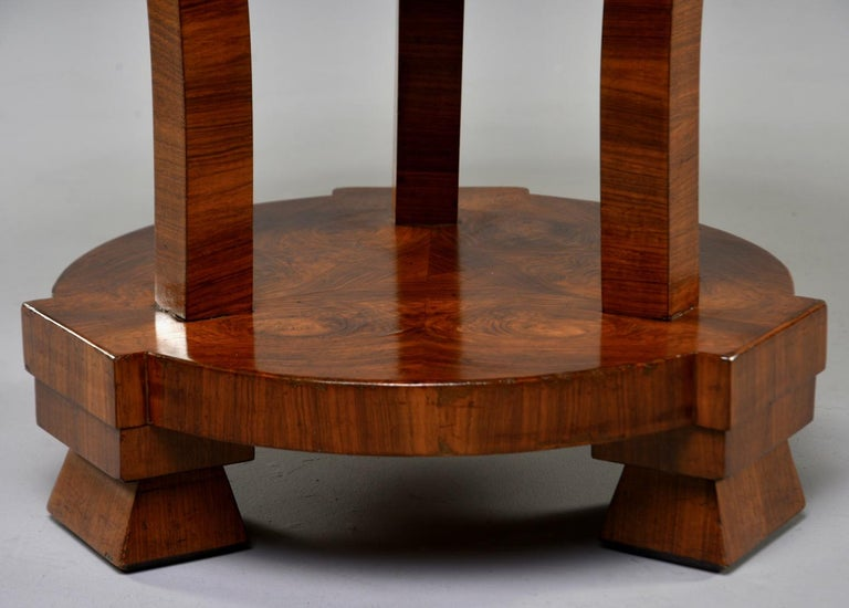 Italian Art Deco Burled Walnut Center Table For Sale 1