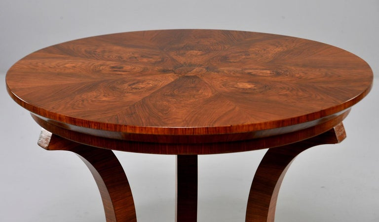 Italian Art Deco Burled Walnut Center Table For Sale 2