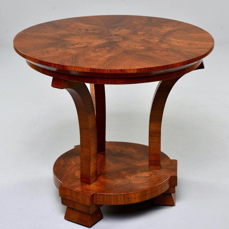 Italian Art Deco Burled Walnut Center Table For Sale 3