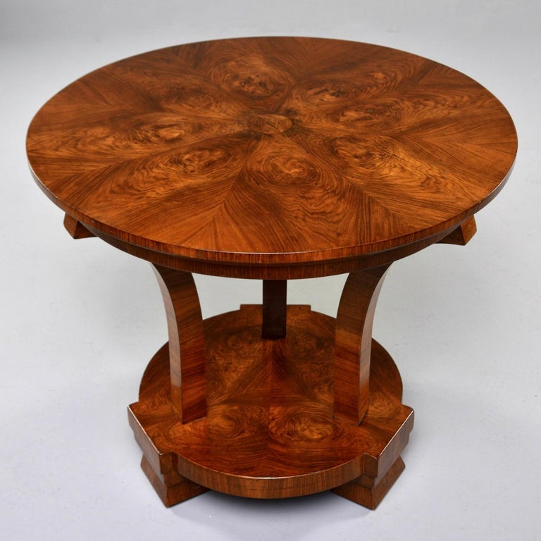 Italian Art Deco Burled Walnut Center Table For Sale 4