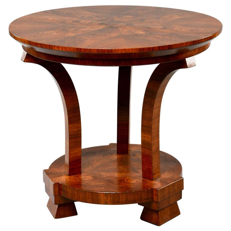 Italian Art Deco Burled Walnut Center Table For Sale