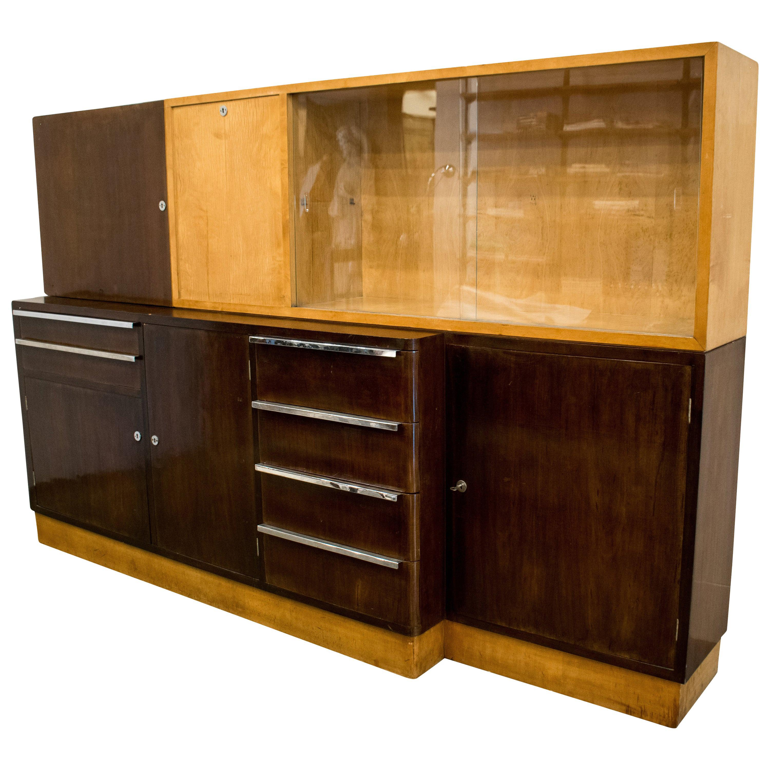 Italian Art Deco Cabinet of Birch and Rosewood, 1930-1940