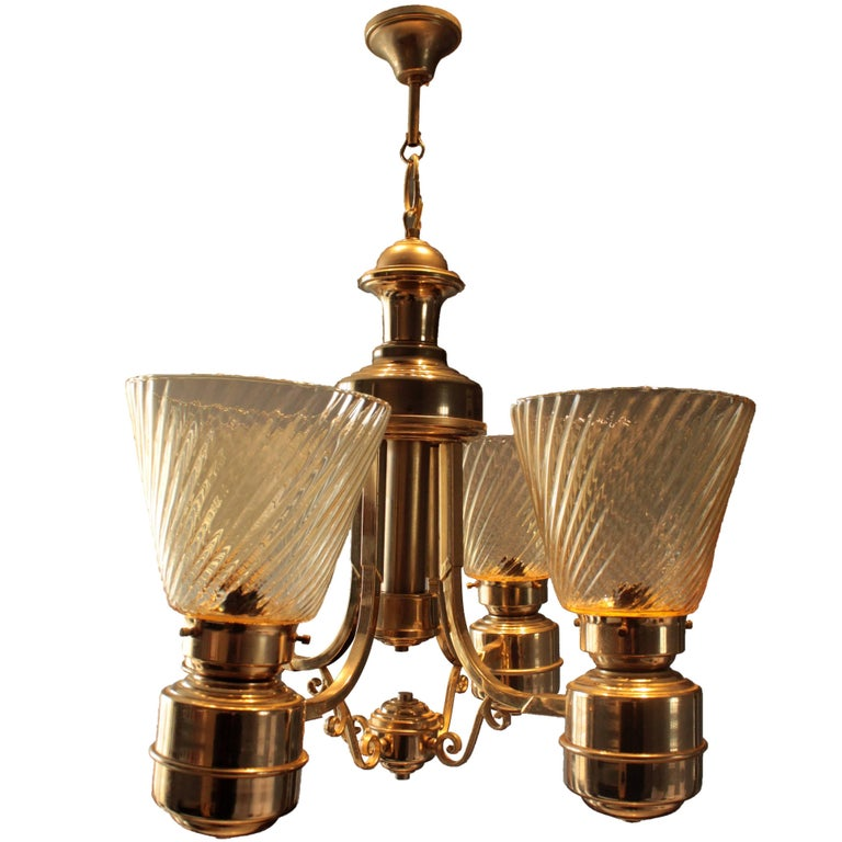 Italian Art Deco Chandelier in Murano Glass, 1940s