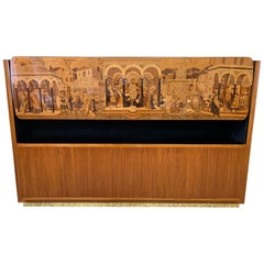 Italian Art Deco Cherrywood and Inlaid Cabinet by Vittorio Dassi, 1940s