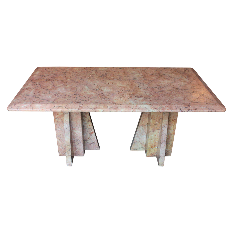 Italian Art Deco Coffee Table in Pink Marble