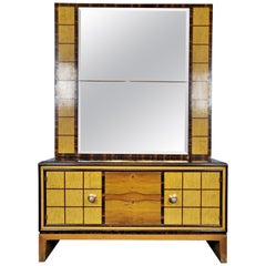 Italian Art Deco Commode with Standing Mirror