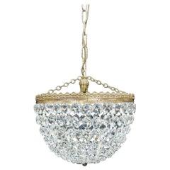 Italian Art Deco Crystal Glass Basket Chandelier