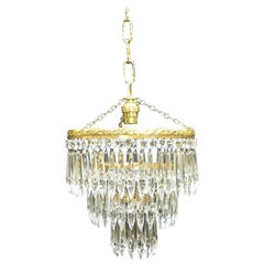 Italian Art Deco Crystal Glass Chandelier